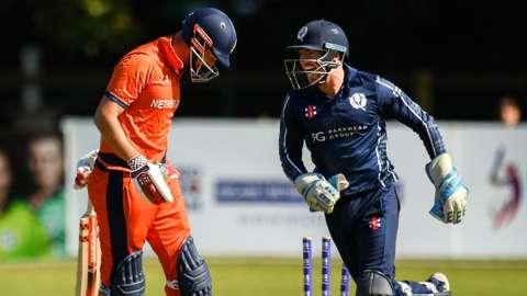 Netherlands batsman Pieter Seelaar and Scotland wicketkeeper Matthew Cross