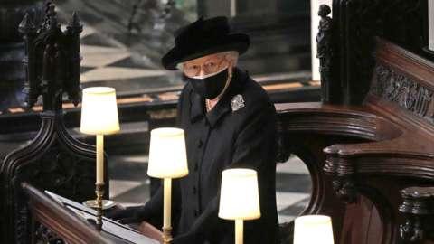 "Queen Elizabeth II during the funeral of the Duke of Edinburgh in St George""s Chapel, Windsor Castle"