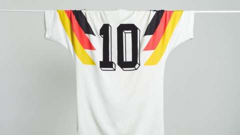 A West Germany shirt from the 1990 World Cup with number 10 on the back