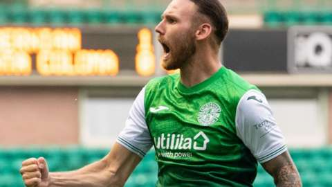 Martin Boyle celebrates his second goal at Easter Road