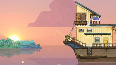 Still from the Spiritfarer game showing one the the characters fishing