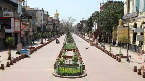 A general view of nearly deserted Chandni Chowk market