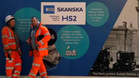 Two construction workers stand in front of an HS2 sign