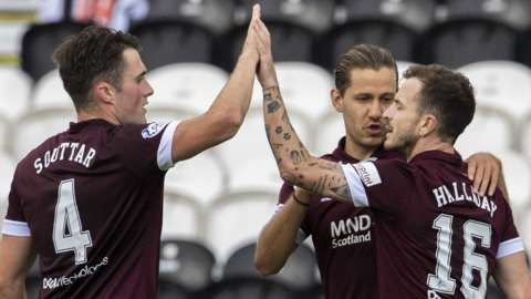 Hearts' John Souttar, Peter Haring and Andy Halliday celebrate