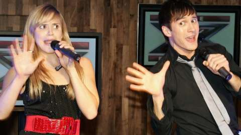 Sarah and Sean Smith of the group 'Same Difference' perform during the X Factor Finals Photocall in 2007
