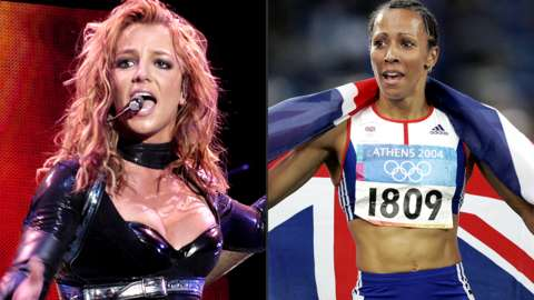 A spilt image of Britney Spears and Kelly Holmes