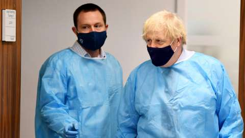 Boris Johnson visiting a hospital in Glasgow