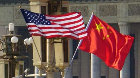 USA and China flags