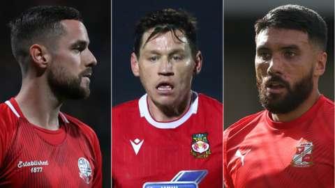 L-R: Bolton goalkeeper Remi Matthews, Wrexham left-back James Jennings and Swindon midfielder Danny Rose