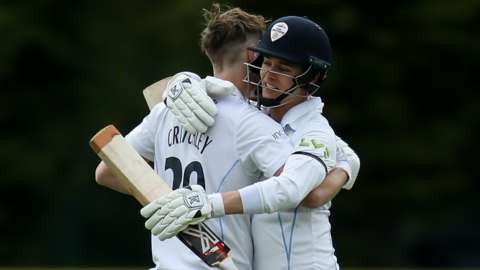 Matt Critchley and Harvey Hosein's stand of 121 was the second of the day's two century partnerships