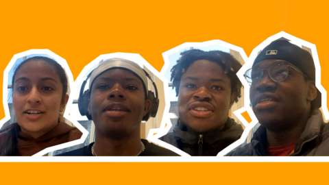 Four Members of Intercultural Youth Scotland and the text 'What does Black History Month mean to you?'