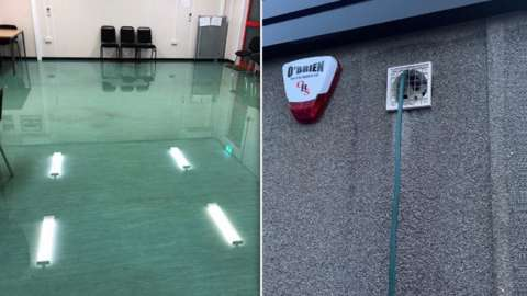 Flooding in the bowls pavilion was caused by a hose fed through an air vent