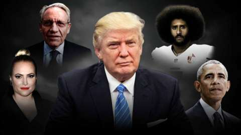 Illustration of Donald Trump with Meghan McCain, Bob Woodward, Colin Kaepernick and Barack Obama