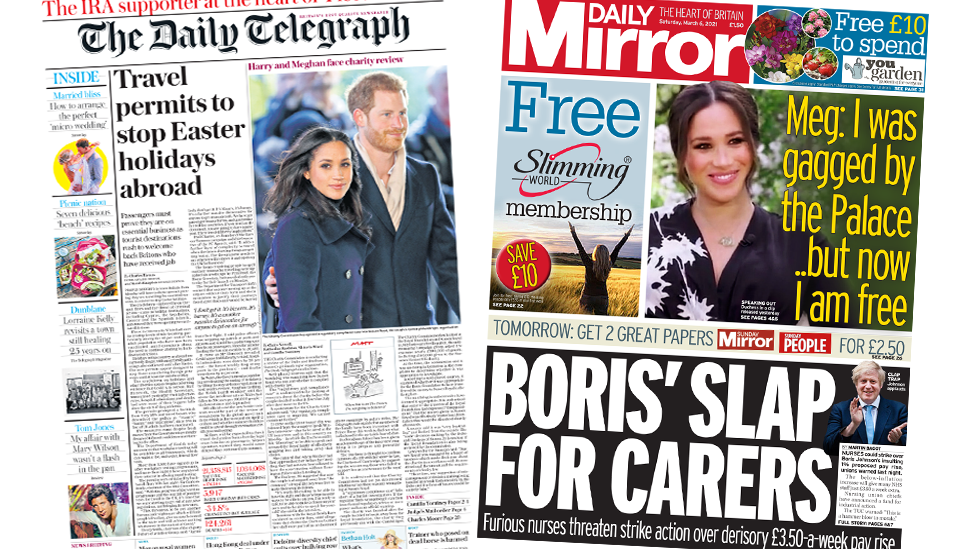 The Daily Telegraph and the Daily Mirror front pages 6 March 2021