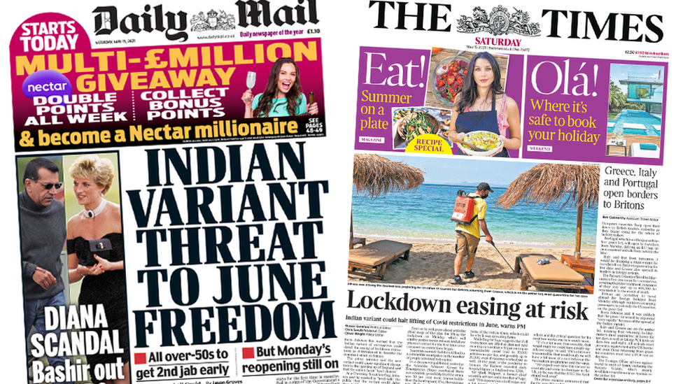 The Daily Mail and the Times front pages 15 May 2021