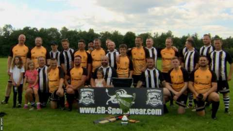Grange Albion and Newport City baseball sides after the 2021 Welsh Baseball Union Cup Final