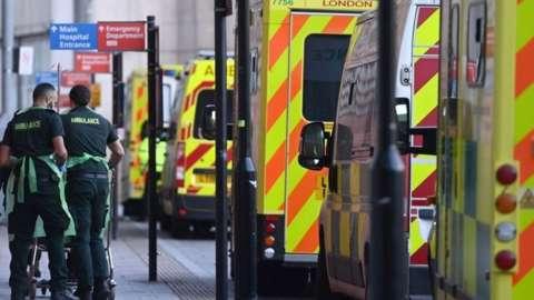 Ambulances at a hospital in London