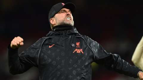 Liverpool boss Jurgen Klopp celebrates this side's win against Manchester United at Old Trafford