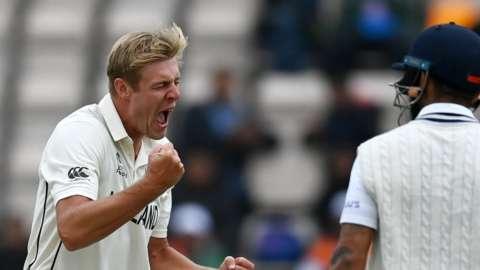 Kyle Jamieson celebrates Virat Kohli wicket