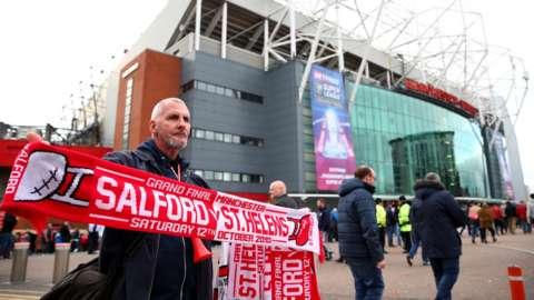 Scarves for sale at Old Trafford