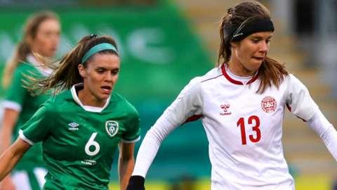 Republic of Ireland defender Jamie Finn and Denmark's Sofie Junge Pedersen