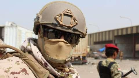 Saudi-led coalition soldier at Yemen's Red Sea Mills company in Hudaydah (22 January 2019)