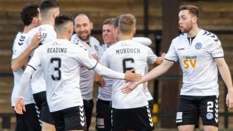 Michael Moffat (centre) celebrates his goal with his Ayr United team-mates