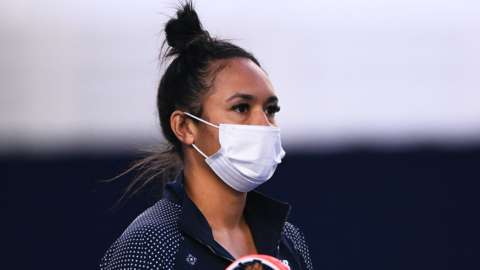 Heather Watson wears a face mask at the Battle of the Brits