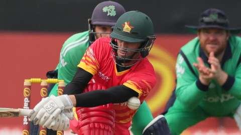 Zimbabwe's Sean Williams plays a shot against Ireland
