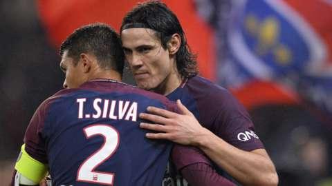 Edinson Cavani and Thiago Silva