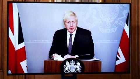 Boris Johnson appearing on video link