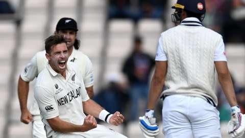 New Zealand's Tim Southee celebrates a wicket