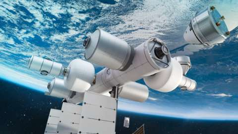 An artist's impression of the Orbital Reef space station.