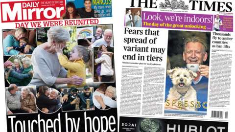 Composite image of the Daily Mirror and the Times front pages.