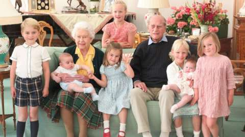 Queen Elizabeth II and the Duke of Edinburgh with their great grandchildren