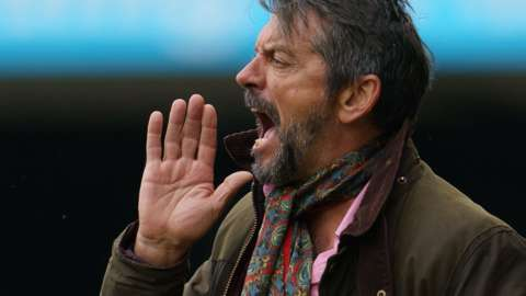 Southend boss Phil Brown shouts to his players
