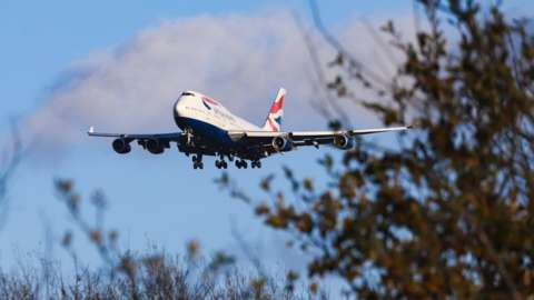 British Airways Boeing 747 landing at its home base London Heathrow Airport, England.