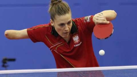 Polish table tennis player Natalya Partyka in action