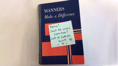 Good Manners Make A Difference book with note: Sorry! Just 32 years overdue! Call it Catholic guilt.""