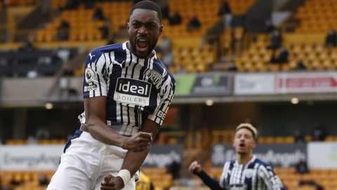 Nigeria defender Semi Ajayi celebrates a goal for West Bromwich Albion