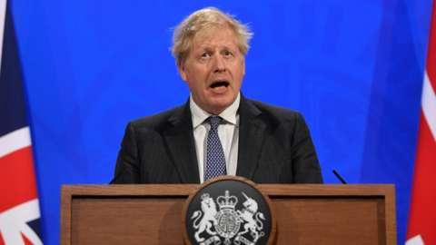 Prime Minister Boris Johnson holds a Covid-19 Press Conference on 20 April