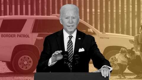 Biden image over border wall photo