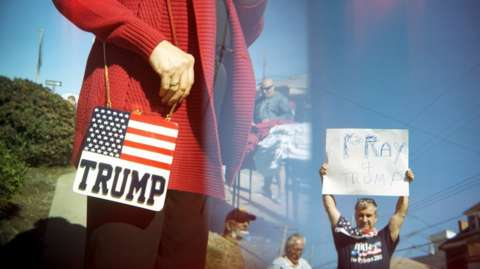 Supporters outside of the Trump rally in Ambridge, Pennsylvania, 10 October 2016