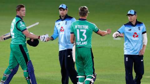Ireland's Kevin O'Brien and Harry Tector shake hands with England players after the third ODI