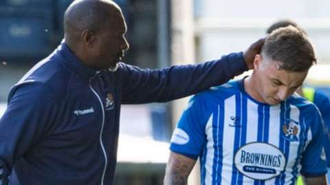 Kilmarnock manager Alex Dyer and Eamonn Brophy
