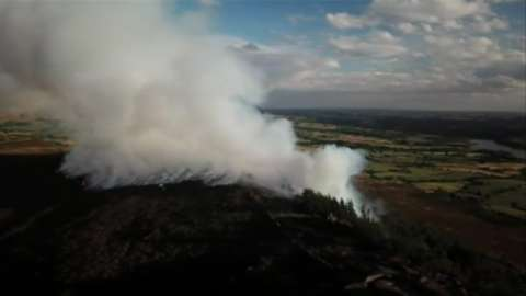 Footage shows smoke billowing into the air