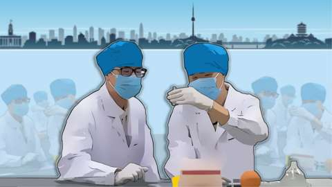 Artwork - scientists at work with Wuhan cityscape behind