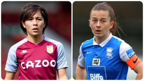 Aston Villa's Mana Iwabuchi and Birmingham City's Christie Murray