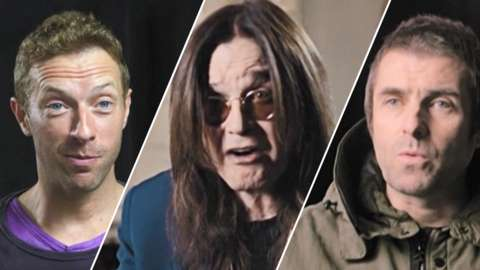 Chris Martin, Ozzy Osbourne and Liam Gallagher