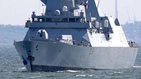 HMS Defender arrives at the Black Sea port of Odessa, Ukraine, on 18 June